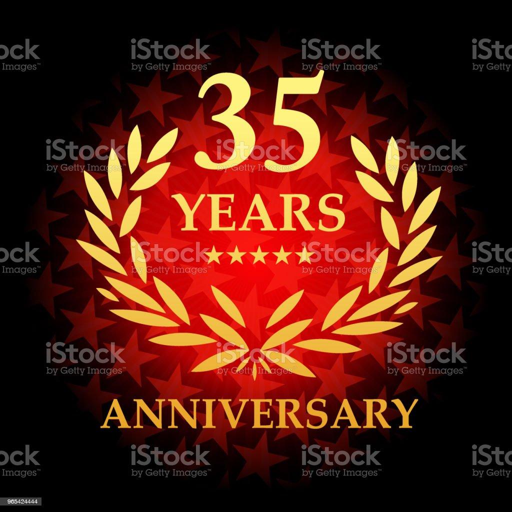 Icône de trente cinq ans anniversaire avec fond de forme d'étoile de couleur rouge - clipart vectoriel de Affaires libre de droits