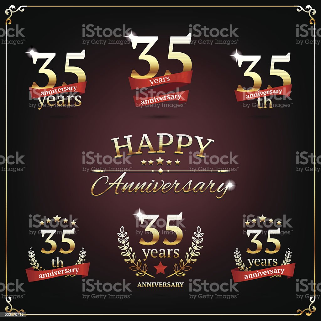 Thirty five years anniversary signs collection royalty-free stock vector art