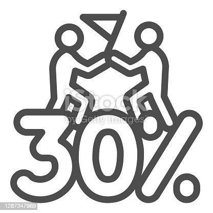istock Thirty percent discount sale line icon, Black Friday concept, Special offer price sign on white background, Two people with flag and discount icon in outline style. Vector graphics. 1287347969