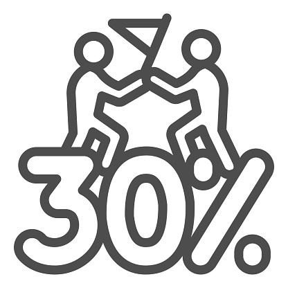 Thirty percent discount sale line icon, Black Friday concept, Special offer price sign on white background, Two people with flag and discount icon in outline style. Vector graphics.