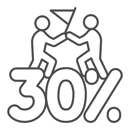 Thirty percent discount sale thin line icon, Black Friday concept, Special offer price sign on white background, Two people with flag and discount icon in outline style. Vector graphics.