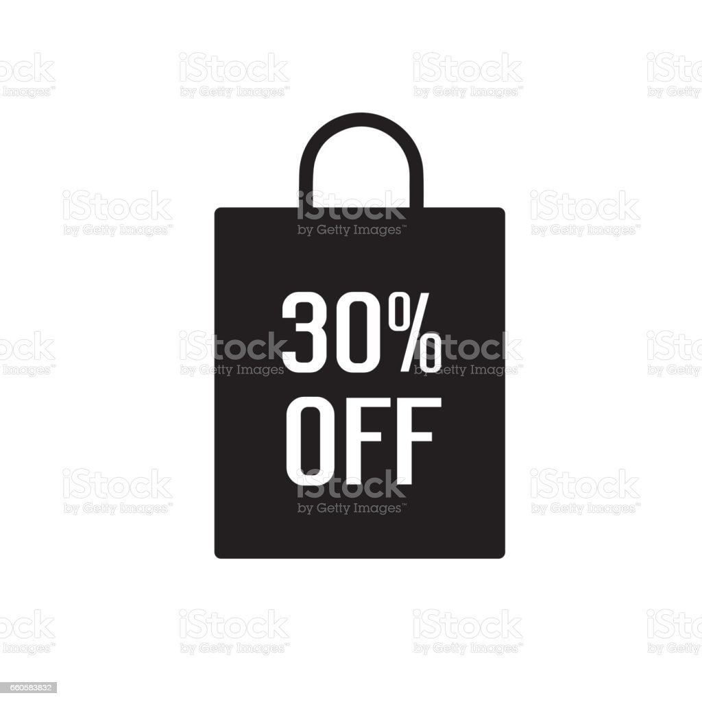 Thirty Percent Off Lettering royalty-free thirty percent off lettering stock vector art & more images of bag