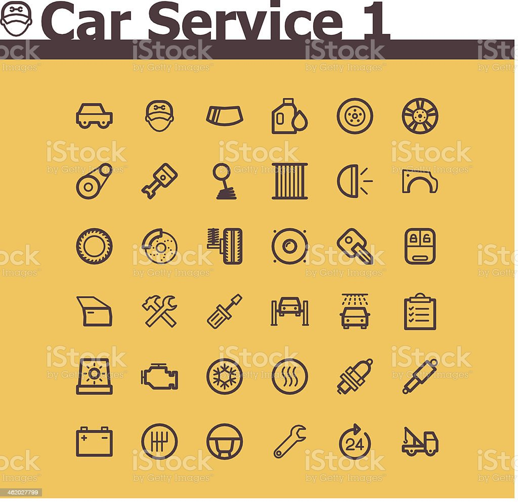 Thirty six line icons for car servicing vector art illustration