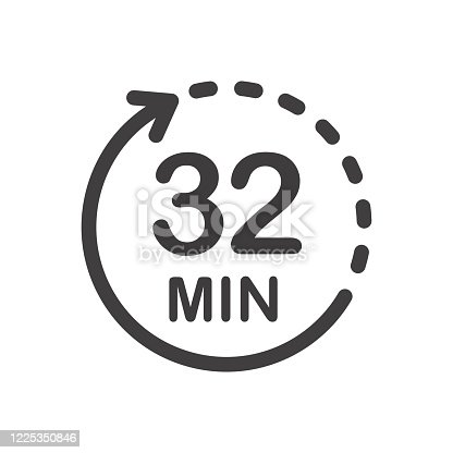 istock Thirty two minutes icon. 1225350846