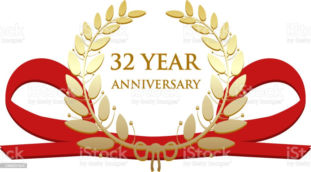 Thirty Two Year Anniversary Celebration Gold Award Stock Illustration Download Image Now Istock
