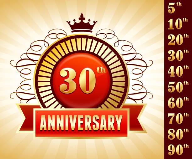 bildbanksillustrationer, clip art samt tecknat material och ikoner med thirty year anniversary badges red and gold collection background - 50 59 år