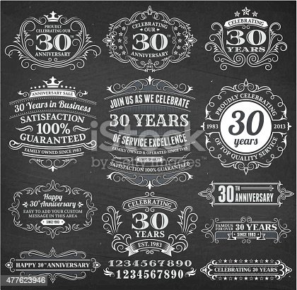 thirty year anniversary hand-drawn chalkboard royalty free vector background. This image depicts a black chalkboard with multiple thirty year anniversary announcement designs. There is chalk dust remaining on the chalkboard and the chalkboard texture serves a perfect backdrop for making the thirty year anniversary announcements look authentic and elegant.