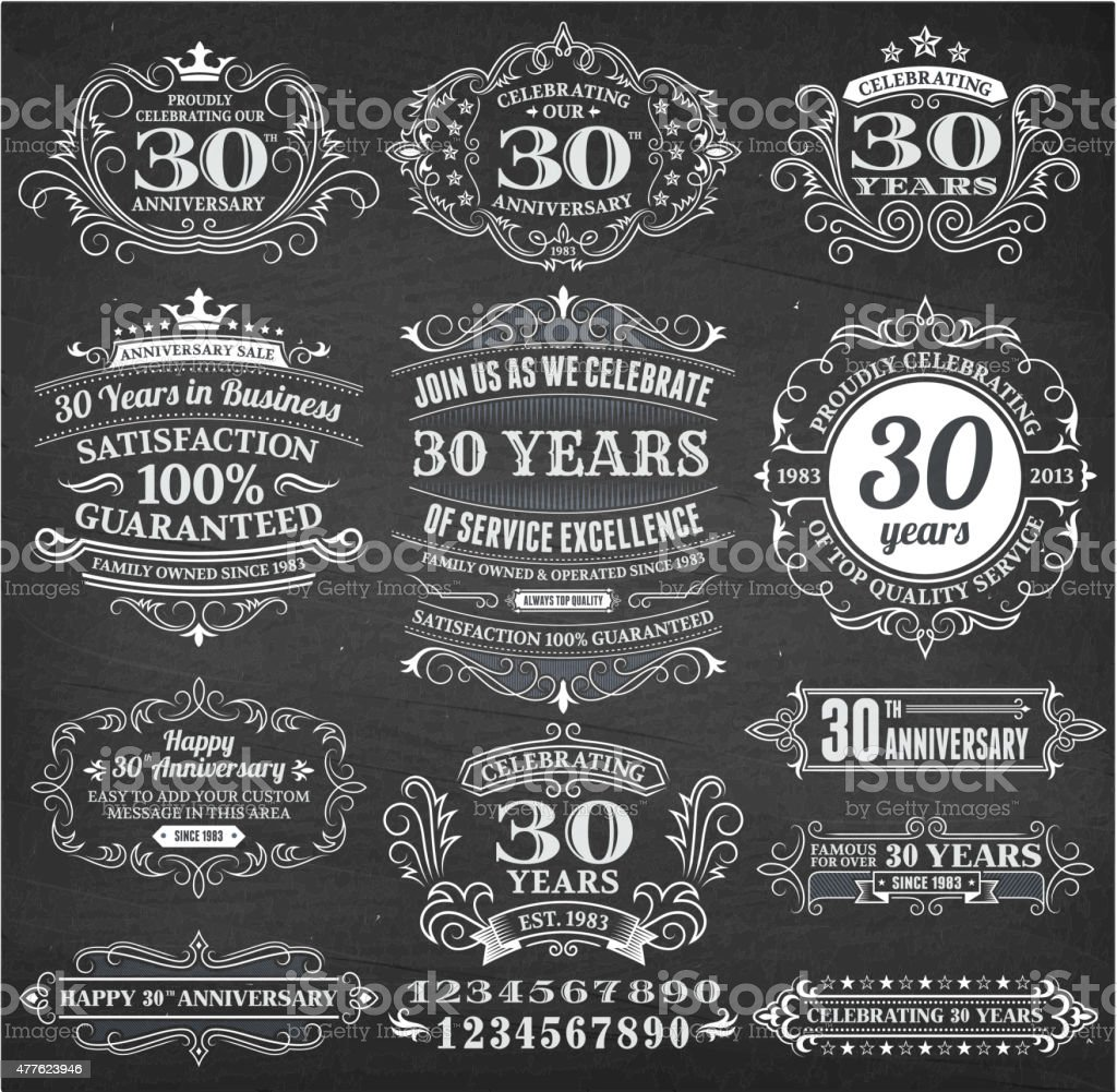 thirty year anniversary hand-drawn chalkboard royalty free vector background vector art illustration