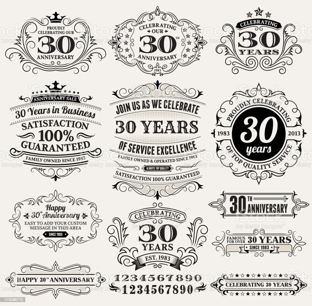 thirty year anniversary hand-drawn royalty free vector background on paper vector art illustration