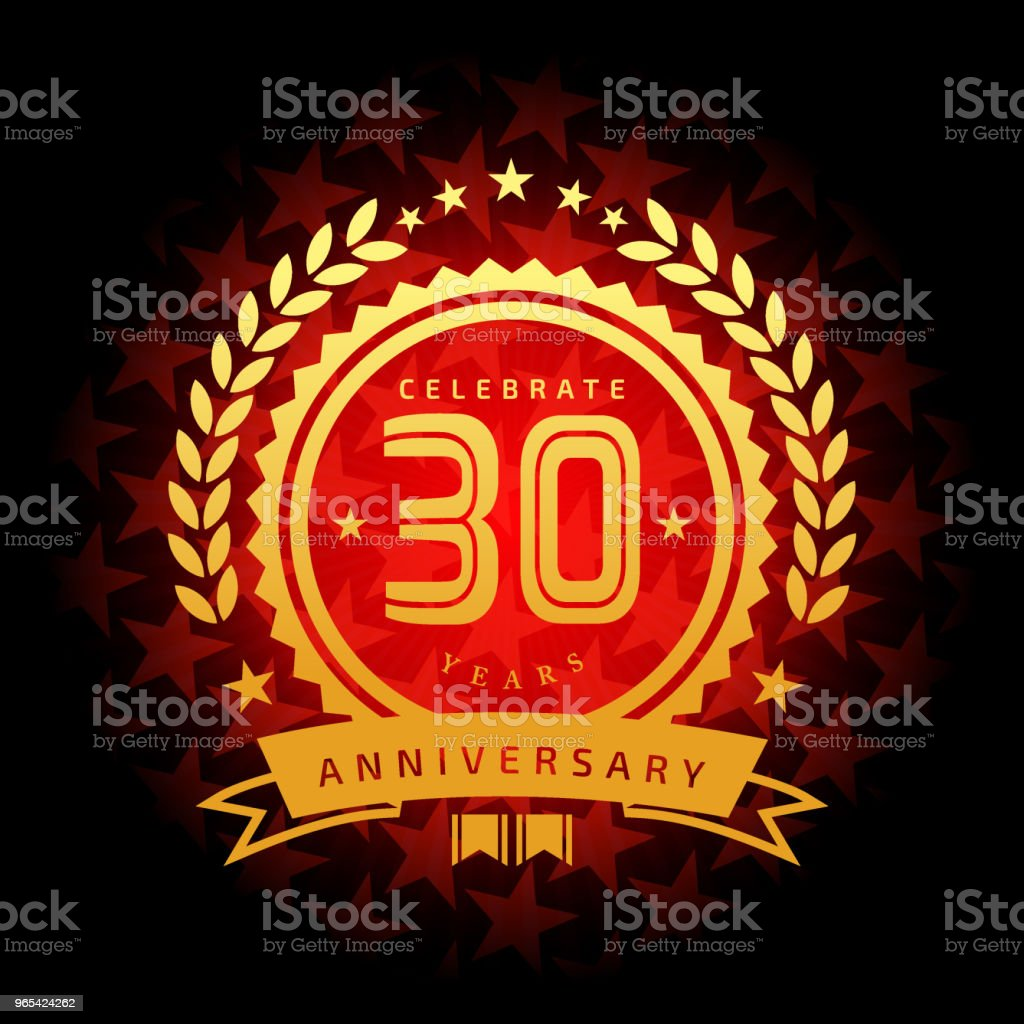 Thirty year anniversary icon with red color star shape background royalty-free thirty year anniversary icon with red color star shape background stock vector art & more images of 30th anniversary