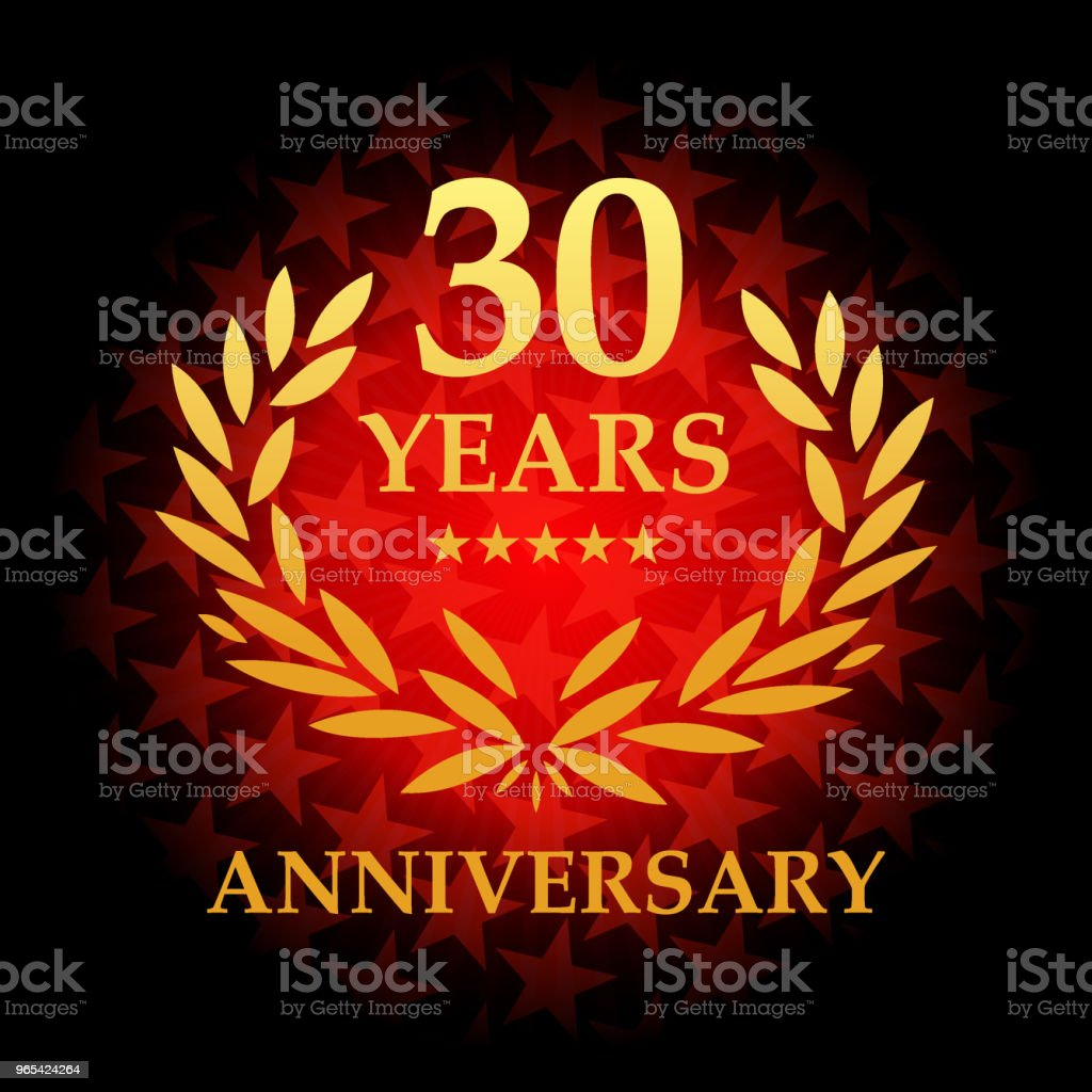 Thirty year anniversary icon with red color star shape background thirty year anniversary icon with red color star shape background - stockowe grafiki wektorowe i więcej obrazów baner royalty-free