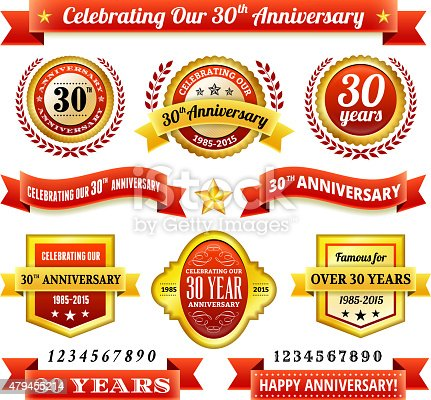 thirty year anniversary royalty free vector background with golden badges. This image depicts a white background with multiple thirty year anniversary announcement designs. The background serves a perfect backdrop for making the thirty year anniversary announcements look authentic and elegant. The award badges are unique and intricate in design and are ideal for your thirty year anniversary design announcements. The red and gold color makes these badges a perfect award design element.