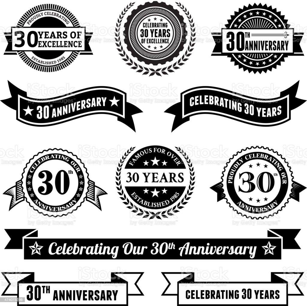 thirty year anniversary vector badge set royalty free vector background vector art illustration