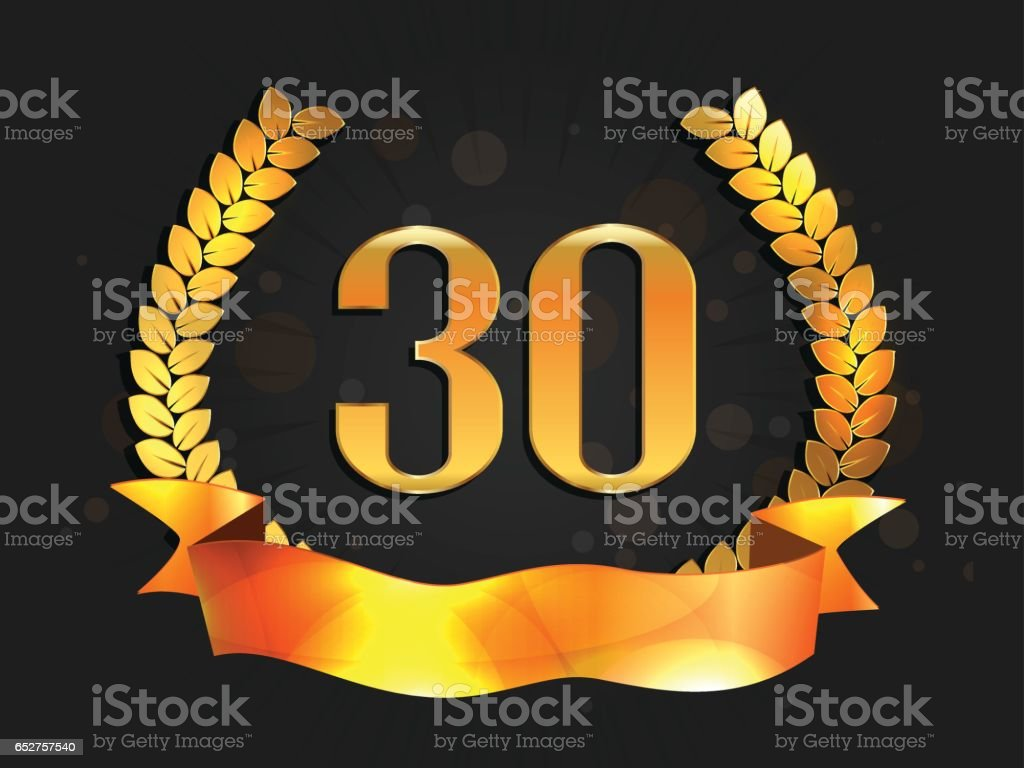 Thirty years anniversary banner 30th anniversary logo with ribbon