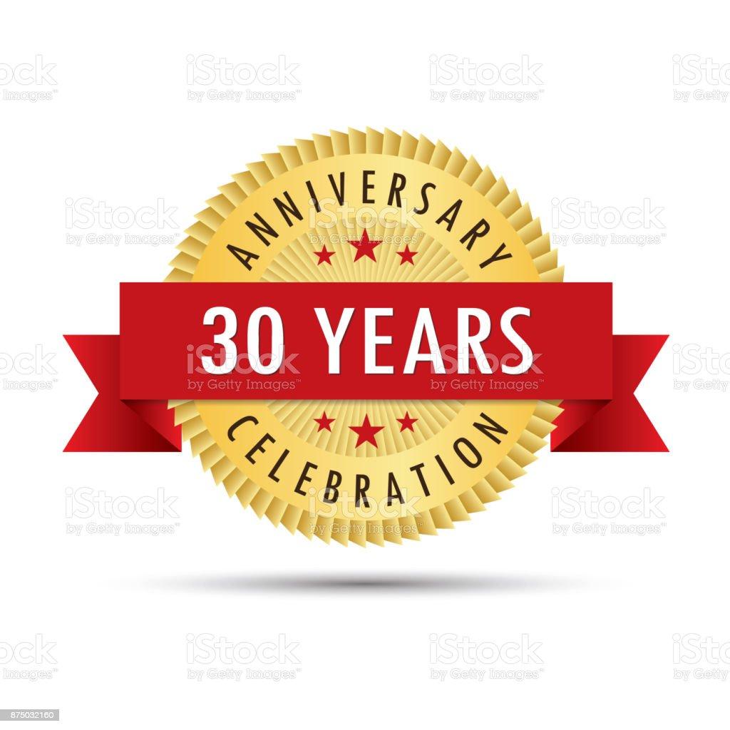 Thirty years anniversary celebration icon logo vector art illustration