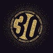 Thirty years anniversary celebration logotype. 30th anniversary golden logo.