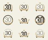 Thirty years anniversary celebration logotype collection. 30th anniversary logo.