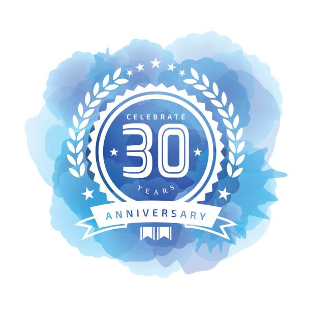 Thirty Years Anniversary Emblem on blue color watercolor background vector art illustration