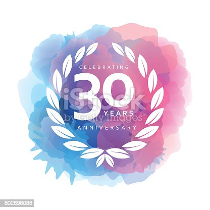 Vector of 30 years anniversary emblem on watercolor background. This illustration is an EPS10 file and contains transparency effects.