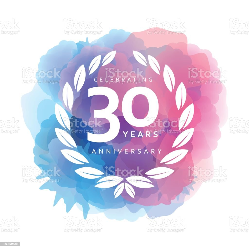 Thirty Years Anniversary Emblem on watercolor background vector art illustration