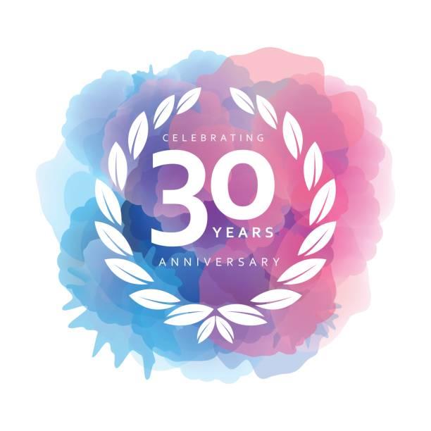bildbanksillustrationer, clip art samt tecknat material och ikoner med trettio år anniversary emblem på akvarell bakgrunden - nummer 30