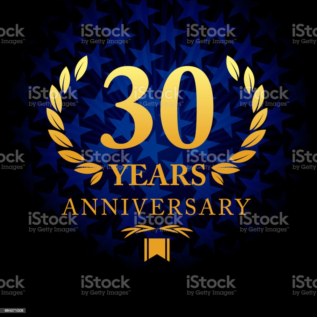 Thirty years anniversary icon with blue color star shape background - Royalty-free 30th Anniversary stock vector