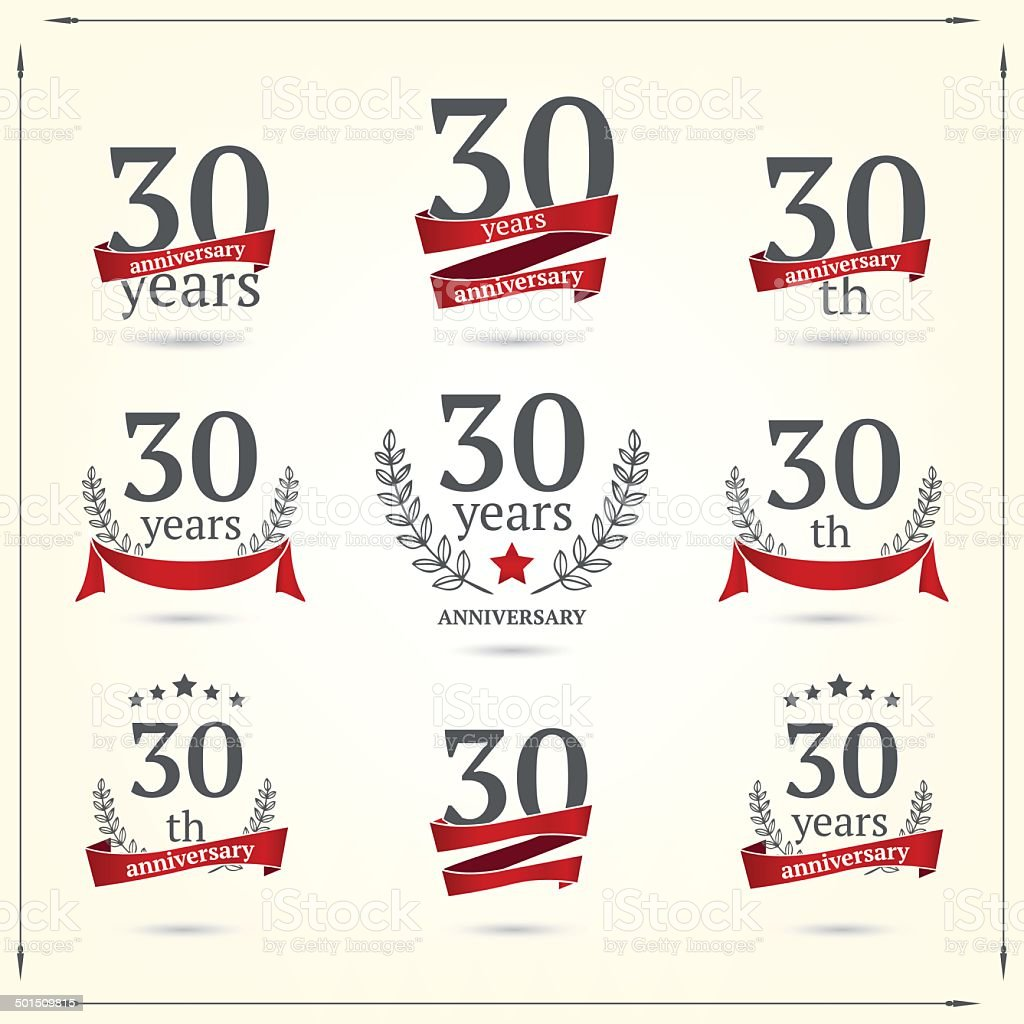 Thirty years anniversary icons collection vector art illustration