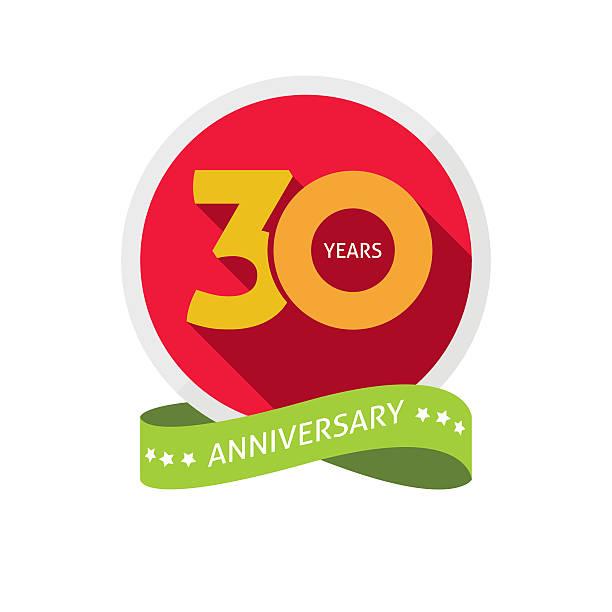 dreißig jahre jubiläum logo, 30 jahre geburtstag aufkleber label - 30 34 jahre stock-grafiken, -clipart, -cartoons und -symbole