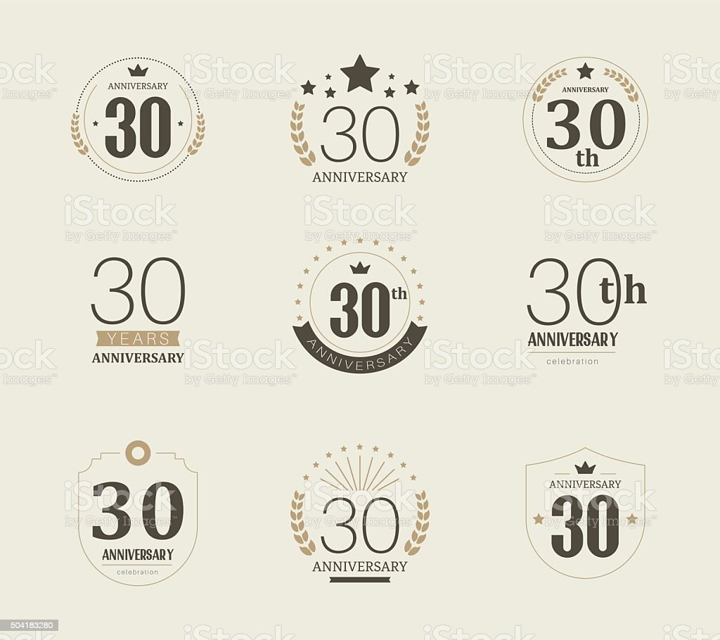 Thirty years anniversary logo. 30th anniversary vintage logotype. vector art illustration