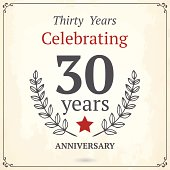 Thirty years anniversary sign