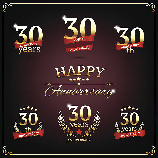 Thirty years anniversary signs collection vector art illustration