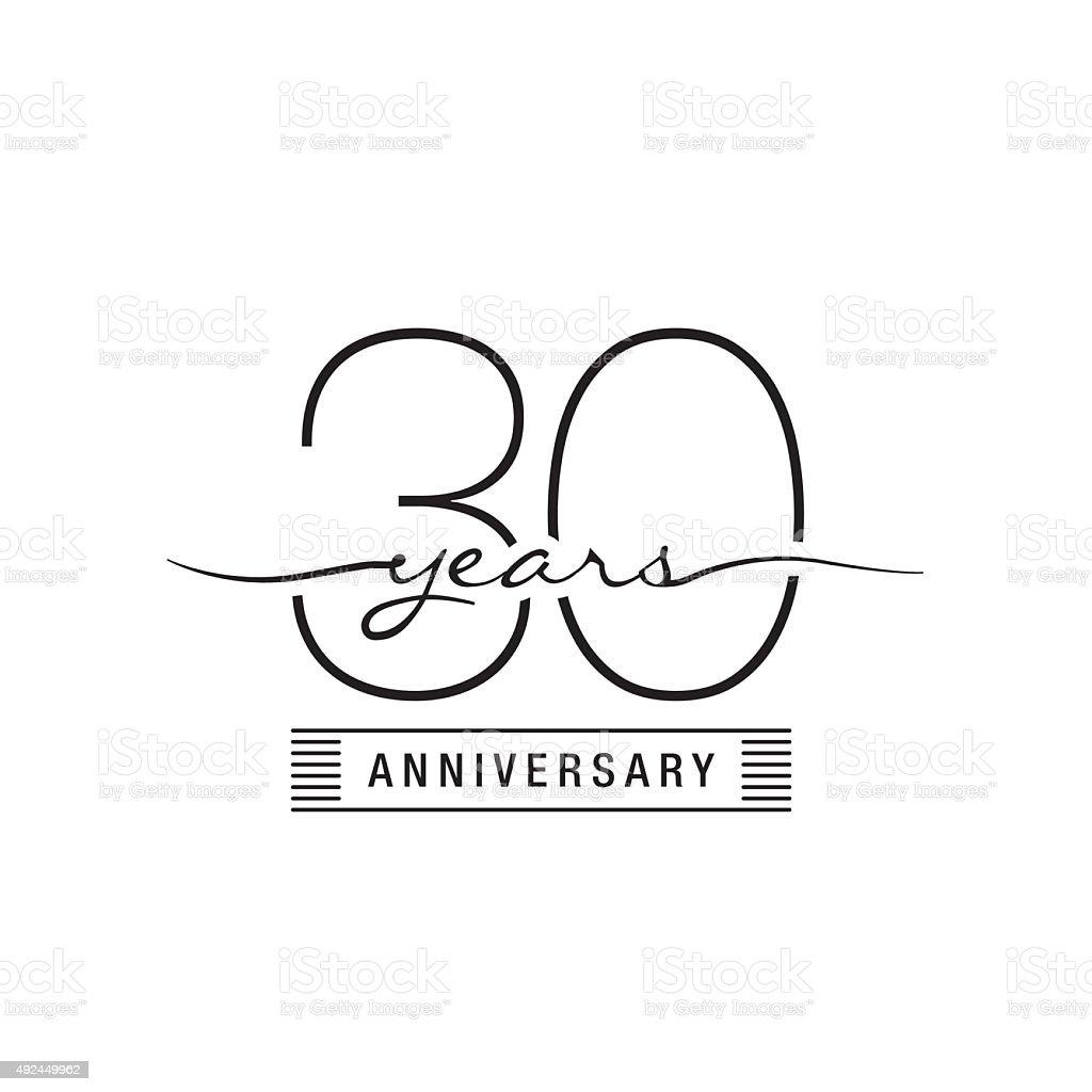 Trinta anos de aniversário de casamento - ilustração de arte em vetor