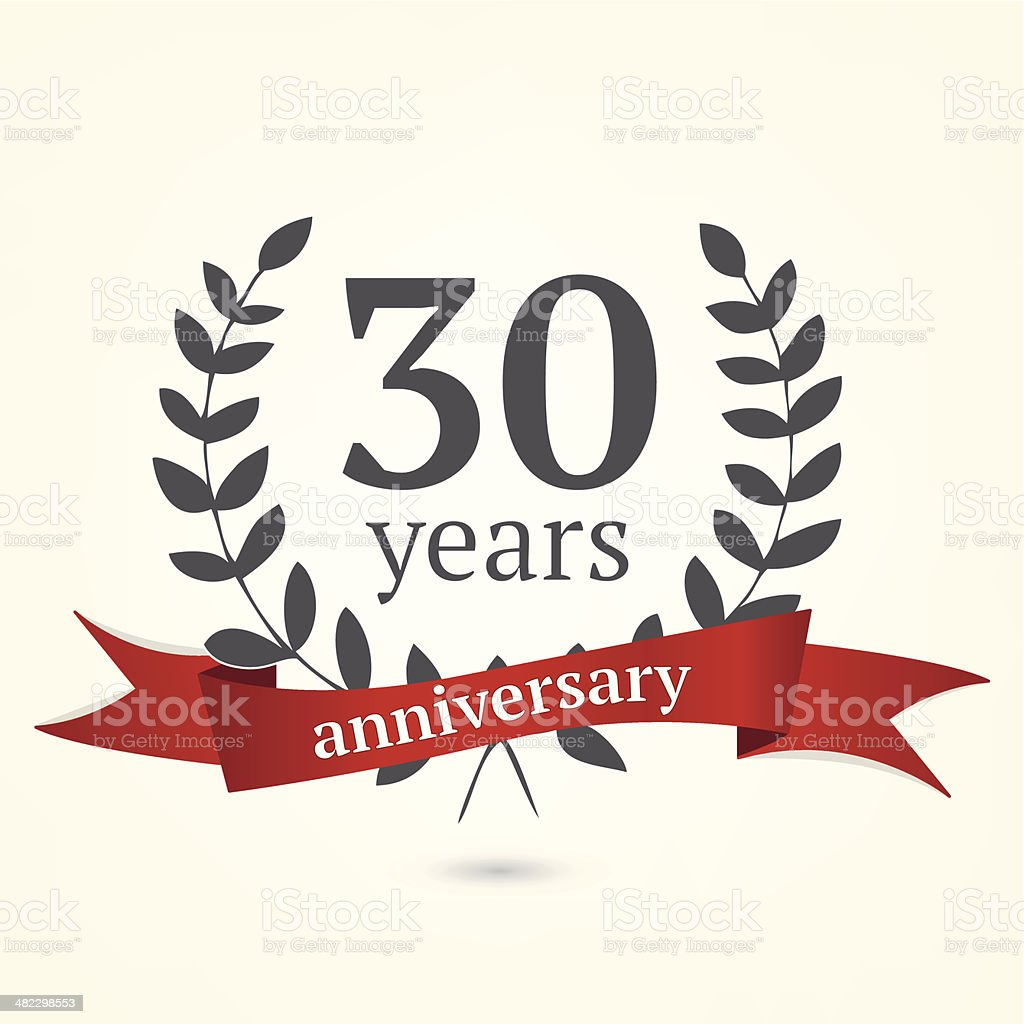 Thirty years anniversary vintage sign vector art illustration