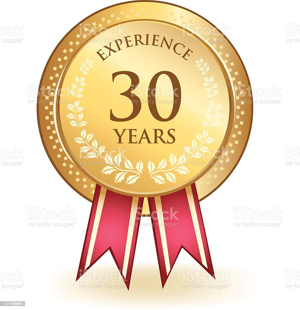 Thirty Years Experience vector art illustration