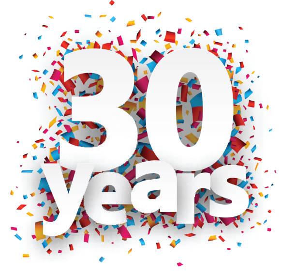 dreißig jahre papier konfetti-schild - 30 34 jahre stock-grafiken, -clipart, -cartoons und -symbole