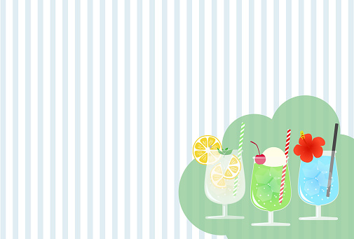 This is a background illustration of melon soda, lemon soda, and soda in a glass.