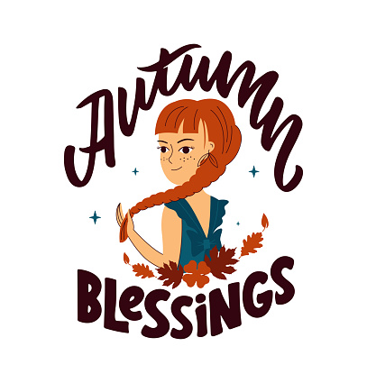 This is a quote – autumn blessing. The cartoon girl with a scythe