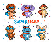 This is a set of Animals who are Super Heroes. Six Jungle cartoon characters with masks