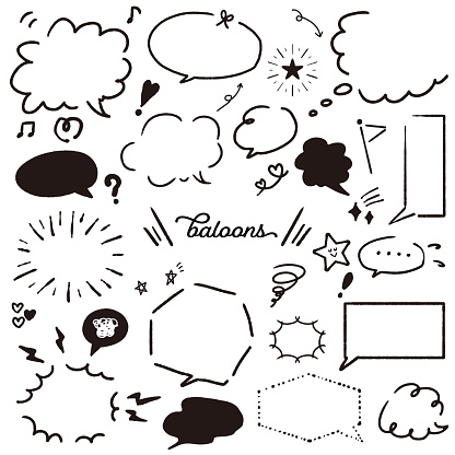 This is an illustration of a collection of balloons. It is monochrome. Vector image.