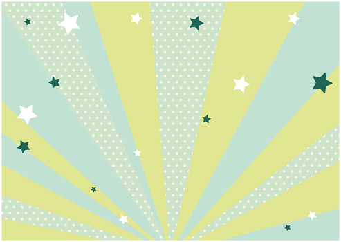 This is an illustration of a green background and scattered stars. Vector image.