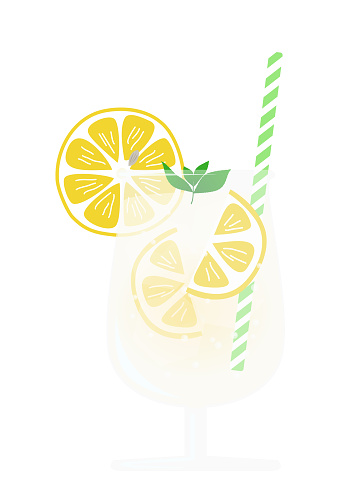 This is an illustration of a lemon soda with mint in a glass.