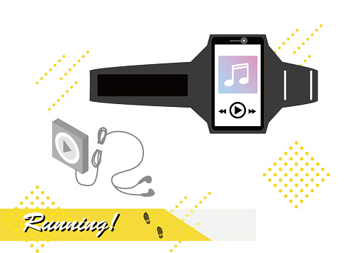 This is an illustration of a running item, an armband and a music player.