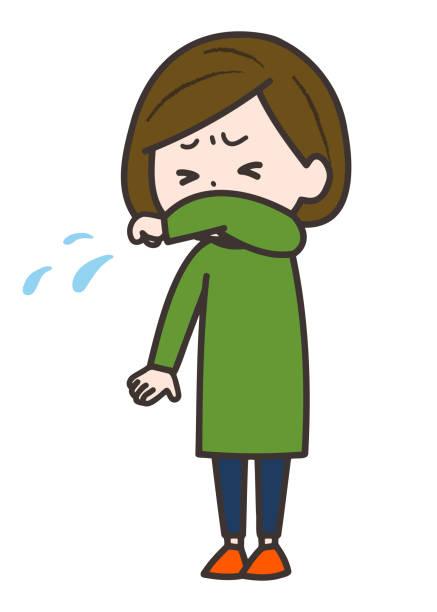 腕を握りながら咳をしたりくしゃみをしたりする女性のイラストです。ベクターイメージ。 - くしゃみ 日本人点のイラスト素材/クリップアート素材/マンガ素材/アイコン素材