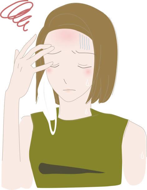 夏にマスクをして熱中症の危機に瀕している女性のイラストです。 - マスク 日本人点のイラスト素材/クリップアート素材/マンガ素材/アイコン素材