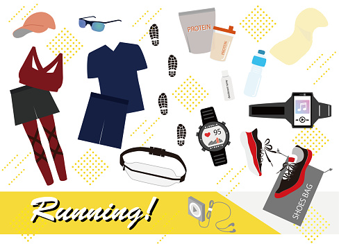 This is an illustration of jogging and running items.
