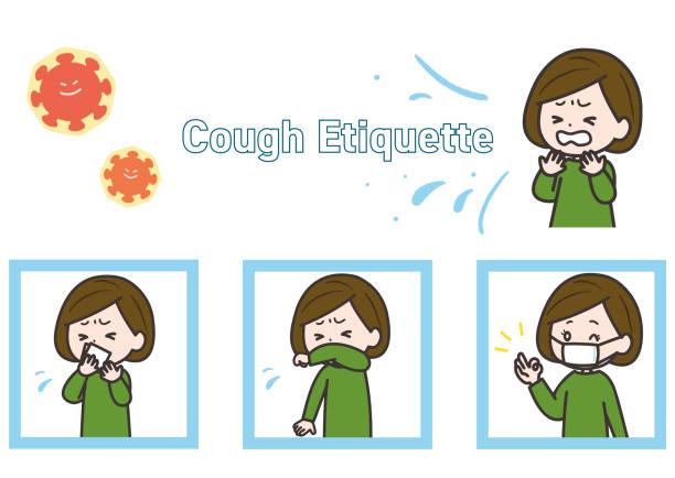 咳のエチケットのイラストセットです。ベクターイメージ。 - くしゃみ 日本人点のイラスト素材/クリップアート素材/マンガ素材/アイコン素材