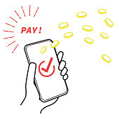 This is an image illustration of cashless payment. Vector image.