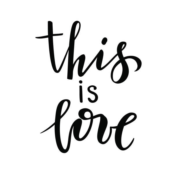 ilustraciones, imágenes clip art, dibujos animados e iconos de stock de se trata de amor. mano dibuja caligrafía creativa y pluma del cepillo letras aisladas sobre fondo blanco. - tipos de letra de tatuajes