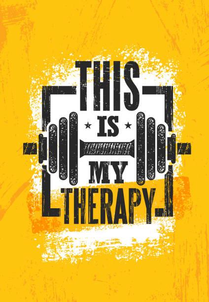 stockillustraties, clipart, cartoons en iconen met dit is mijn therapie. fitness spieren trainen motivatie offerte poster vector concept. inspirerende creatieve illustratie van de sportschool - gym