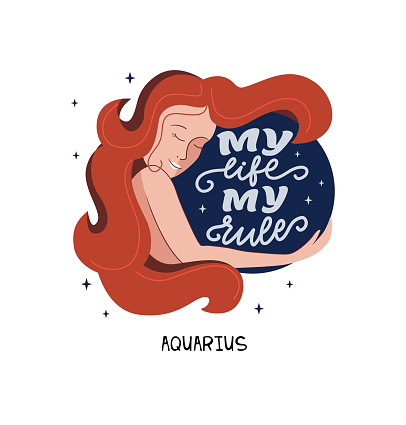 This is zodiac symbol - Aquarius and space girl. The lettering phrase - My life - my rules